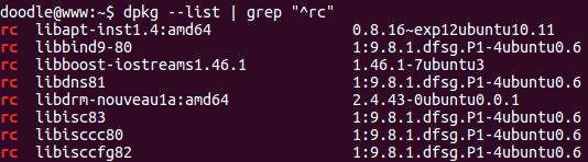 Debian/Ubuntu删除残余配置文件