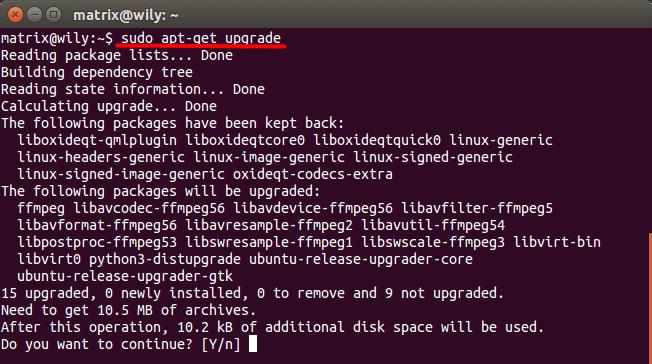 sudo apt-get upgrade